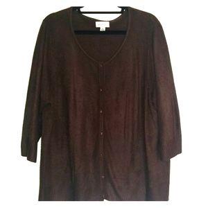 Avenue brown 3/4 length sleeve sweater